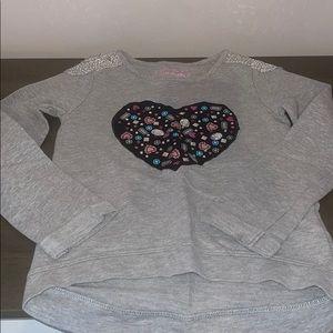 Flapdoodles gray sweatshirt w/ heart